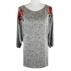 FIG & BLU Soft Stretchy Top with Roses, Size XL